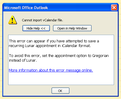 Outlook error message